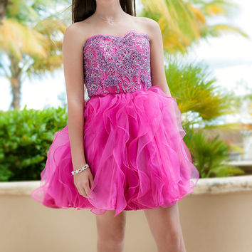Pink Girls Dress/Hot Pink Dress/Hot Pink Prom Dress/Short Prom Dress/Ruffle/Birthday Dress/Tutu Dress/Junior Dress Also In Orange Or Green!