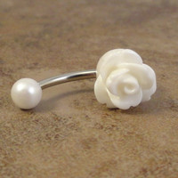 White Rose Flower Belly Button Ring Jewelry