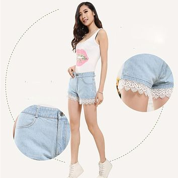 Summer Women Sexy High Waist Lace Denim Shorts Female Big Size Jeans Shorts Fitness Casual Denim Breeches For Lady 2017 New