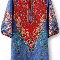 Light Blue Baroque Printed Flare Sleeve Tunic Dress