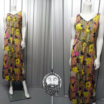 Vintage 70s Psychedelic Dress Flower Power Maxi Dress Hippy Dress Floral Print Trippy Clothing Boho Chic Multicolored Dress Deep Back