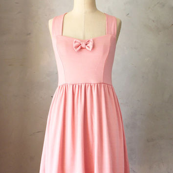 SALE SWEETHEART BLUSH - Dusty rose pink vintage inspired jumper dress with full gathered skirt // retro // bridesmaid // pinup // bow //