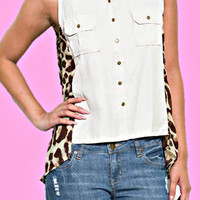 LEOPARD TRIM TOP