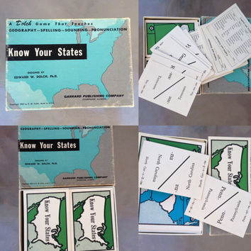 States Card Game, Geography Flashcards, Travel Card Game, Learning Travel Game, Know Your States Game, Learning Game, State Card Game