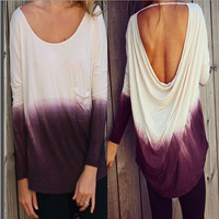 Loose Fashion Backless Tops
