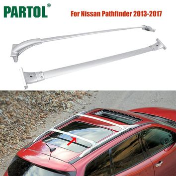 Partol 2Pcs/Set Car Roof Racks Cross Bars Crossbars Kit 68kg 150LBS Cargo Luggage Snowboard Carrier Top for Nissan Pathfinder