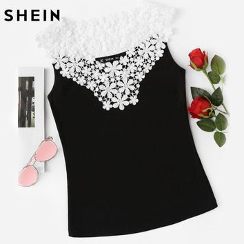 Women's Black and White Lace Yoke Applique Tank Top.   In Sizes Extra Small to Large.   ***FREE SHIPPING***