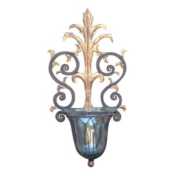 Pre-owned Rustic Iron Wall Sconces w/Glass Globes - A Pair