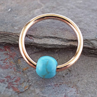 16 Gauge Turquoise Stone CBR Rose Gold Cartilage Hoop Earring Tragus Helix Conch