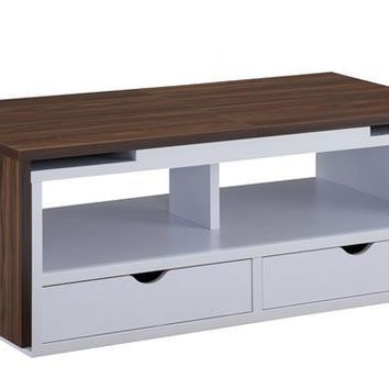 Donna Modern Coffee Table in Distressed Walnut and White
