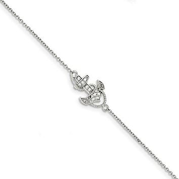 "Sterling Silver Anchor CZ 7"" Bracelet"