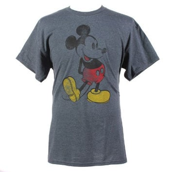 Disney Mickey Mouse Classic Distressed Graphic T-Shirt Heather Grey X-Large