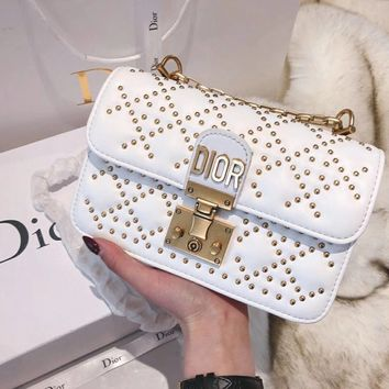 Christian Dior Women Fashion Leather Chain Satchel Shoulder Bag Crossbody