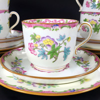 Lot of Five Mintons Trios, 5 Small Teacup Saucer and Desert Plates, c1912-1950's Made in England J-1710