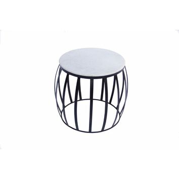 Concave Base Round Marble Top Side/ End Table, White By The Urban Port