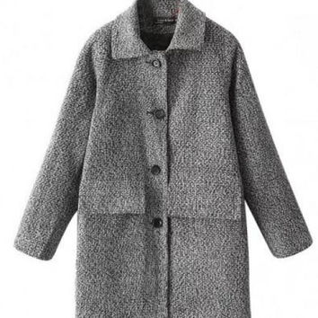Single-breasted Woolen Coat
