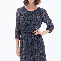 LOVE 21 Paisley Print Chiffon Dress Charcoal/Black