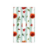 Chic Red Poppy Flowers Aqua Striped Light Switch Cover