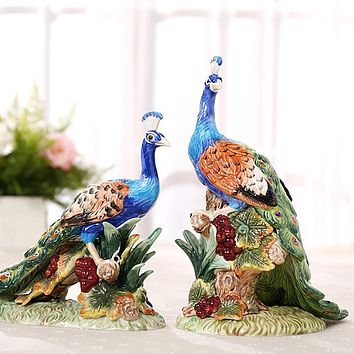 Set Of 2 Ceramic Peacock Lovers Statue Ornament Porcelain Animal