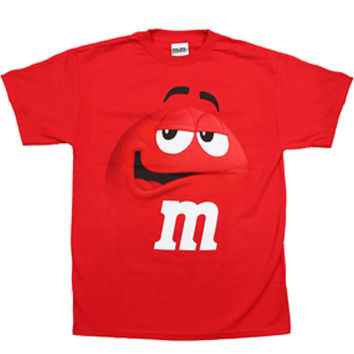 M&M's Candy Character Face T-Shirt - Adult - Red - XL