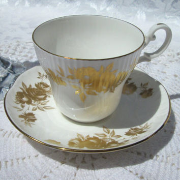 Crown Staffordshire Ribbed Gold Rose Leaf Fine Bone China Cup and Saucer - England