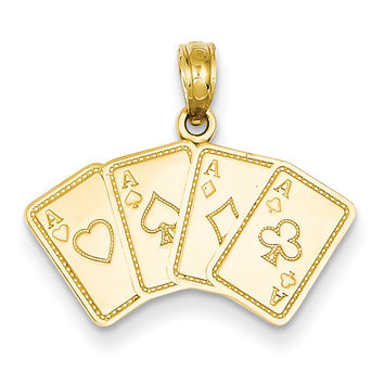 14k Aces Playing Cards Pendant K2774