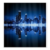 Chicago skyline by night - Shower Curtain