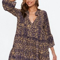Missguided - Purple Snake Print Smock Dress