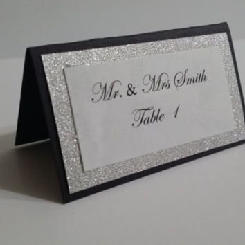Black and Silver Wedding Table Card/ Escort Card / Place Card Full of Bling, Sparkle, and Glitter for Wedding, Bridal Shower, Quincenera