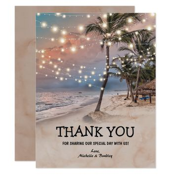 Tropical Vintage Beach Wedding Thank You Card