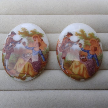 French renaissance couple  porcelain cameos - renaissance cabochons 40x30mm - set of 2