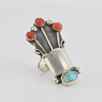Old Pawn Turquoise Coral Ring Stamped Sterling Silver Size 5