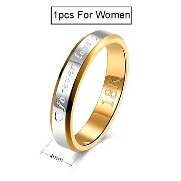 Wedding Couple Rings & Men Engagement Stainless Steel Gold-color Forever Love Jewelry Ring Lover Gift No Fade