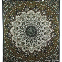 Black White Indian Star Mandala Dorm Decor Tapestry Wall Hanging Bedspread