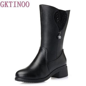 GKTINOO Women's Winter Shoes With Platform Women Winter Boots Genuine Leather Natural Wool High Quality Mid Calf Boots