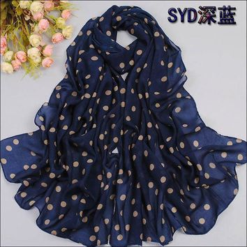 2016 Spring And Autumn Velvet Chiffon Scarf Sunsreen Cape Beach Towel Polka Dot Silk Scarf