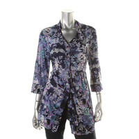 Style & Co. Womens Floral Print 3/4 Sleeves Button-Down Top