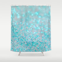 Sweetly Aqua Shower Curtain by Lisa Argyropoulos