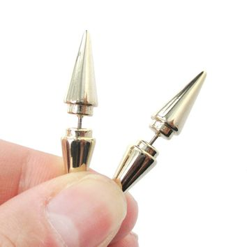 Fake Gauge Earrings: Geometric Spike Shaped Front and Back Stud Earrings in Shiny Gold