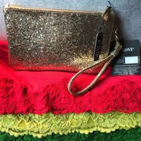 Handbag Charming Charlie Gold Glitter Man Made Purse Phone Charger Zip Wristlet