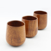 4pcs Primitive Handmade Natural Spruce Wood Wooden Cup Mug Breakfast Beer Milk