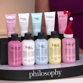 philosophy 10 pc happy holidays shower gel & hand cream set - A274025 — QVC.com