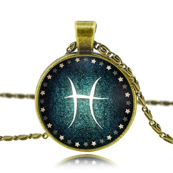 Beautiful Zodiac Pendant Necklace Glass Cabochon Bronze Choker