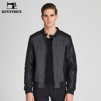 Wool Patchwork Faux Leather Jacket Men Winter Warm Casual Wool Liner Coat Baseball Bomber Jacket Man