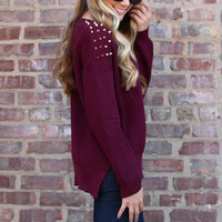 Indie Rokker Sweater - Burgundy