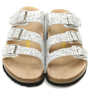 Birkenstock Leather Cork Flats Shoes Women Men Casual Sandals Shoes Soft Footbed Slippers-171