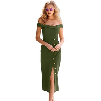 Z| Chicloth Green Military Button Off-The-Shoulder Vintage Dress