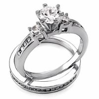 Lakoda: 1.31ct Russian Ice on Fire CZ 2 Pc Wedding Ring Set 925 Sterling Silver, 3069 sz 6.0