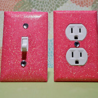SET Of Jelly Bean PINK Glitter Swichplate Outlet Covers ALL Styles