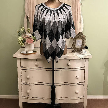Harlequin Sequin Top, Trophy Top, Sequined Party Blouse, ML/L, Ornate Blouse, Formal Blouse, Unique Silk Top, Fabulous Fully Sequined Top